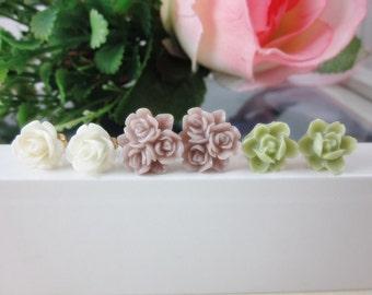 Set of 3 Flower Stud Earrings. Flower Blossom Earrings Set IV.  Bridesmaids gifts, Birthday, Christmas gifts.