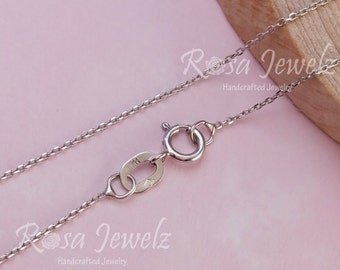 Solid 18k Italy white gold chain for pendant, 18inches 45.5cm solid gold italy chain necklace. No.17A