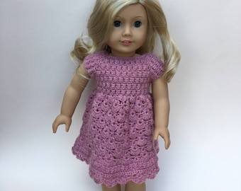 """Pink doll dress. 18 inch doll dress. Hand crocheted dress for 18"""" doll such as American Girl. Doll outfit. Dolls clothes."""