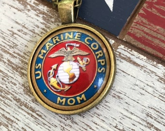 Marine mom Marines  inspired Proud Marine Mom necklace initial Mother's Day
