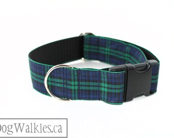 """Green Edge Black Watch Tartan Dog Collar - 1.5"""" (38mm) Wide - Navy and Green Plaid - Side Release or Martingale - Choice of Size and Style"""