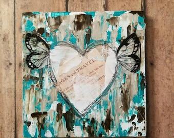 Winged Hearts, Angel Heart Mixed media Art Print and Art Print on Wood