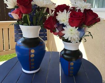 Marine Corps Military Hand Painted Vases