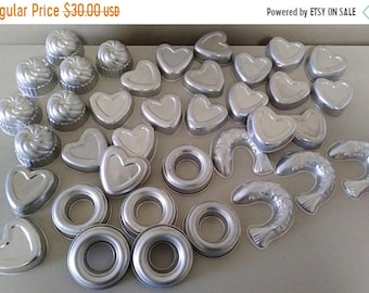 On Sale Aluminum Molds, Lot of 37, Tart Molds, Mini Molds, Metal Molds, Cake, Jello, Craft Molds, Soap & Candle Molds, Hearts/Fish/Doughnut