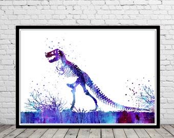 Tyrannosaurus Rex, T Rex, Dinosaur, animal art, Dinosaur,  watercolor T Rex, T Rex poster, T rex skeleton, dinosaur skeleton (2548b)