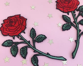 Red Rose Patch (Large) – Iron On Embroidered Patches - Long Stem Rose -  Set or Individually Sold - Wildflower + Co.