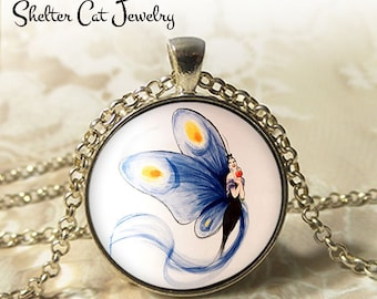 "Blue Butterfly Lady Necklace - 1-1/4"" Circle Pendant or Key Ring - Wearable Photo Art Jewelry - Woman Nature Artistic Illustration Gift"