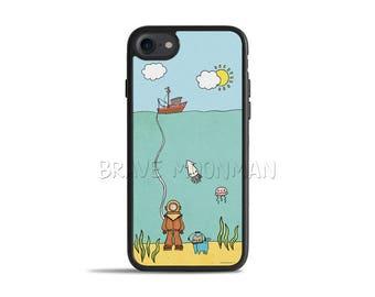 Nautical iPhone 7 Plus Case Galaxy S8 Case Cute Cat Deep Sea Diver Cat iPhone 6s Case Nautical iPhone 5s Case Underwater