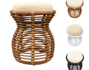 Rattan Pouf Ottoman Footstool Stool Vanity Bench model Opal with Cushion 3Colors