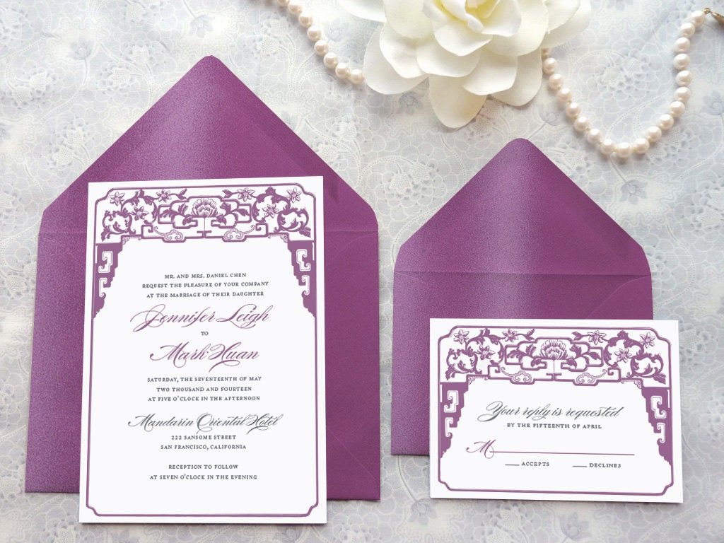 Chinoiserie Asian Printable Wedding Invitations Chinese
