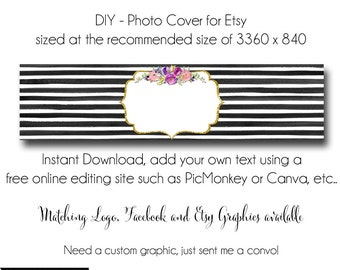 DIY Etsy Cover Photo - Add your own Text, Instant Download, Oh Carolina 2, New Cover Photo For Etsy, Made to Match Graphics