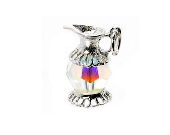 Sterling Silver Swarovski Crystal Set Jug/Pitcher Charm For Bracelets
