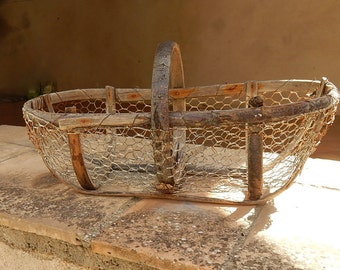 French Vintage Oyster Basket  Rustic and Handmade