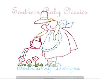 Mary Quite Contrary Spring Girl Vintage Quick Stitch Design File for Embroidery Machine Instant Download Hand Stitched Look Nursery Rhyme