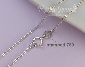 Solid 18k Italy white gold chain for pendant, 16inches 40.5cm solid gold italy chain necklace. No.18