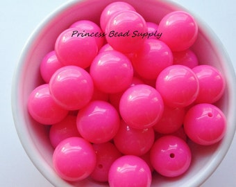 20mm Neon Pink Solid Chunky Beads Set of 10, Neon Hot Pink Beads,  Neon Bubble Gum Beads, Gumball Beads, Acrylic Beads