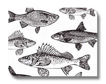 Fish paper napkin for decoupage, mixed media, collage, scrapbooking x 1.  No. 1184 Monochrome Fish