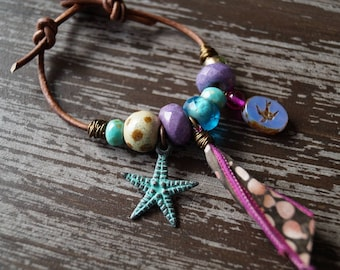 Unlisted - Beaded Leather Bracelet - Boho Leather Bracelet - Purple and Blue - Star Fish - Bead Soup Jewelry