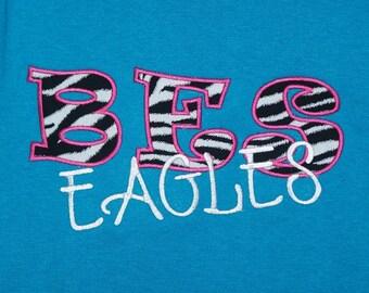 School Letter Shirt Teacher Shirt Mascot Shirt School Initial Shirt School Mascot Shirt