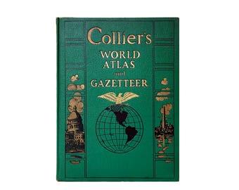Collier's World Atlas and Gazetteer / 1943 Reprint / Vintage Books / Cartography / WW II Era Maps / World Statistics / Vintage Graphs