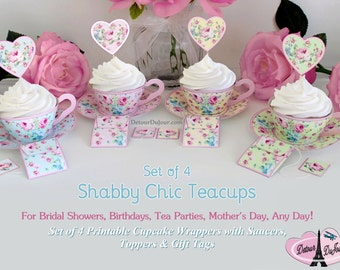 Tea Party Supplies, Set of 4 Tea Cups, Shabby Tea Cups, SCset-001 Cupcake Wrappers Printable, Cupcake Wraps Sleeves Holders