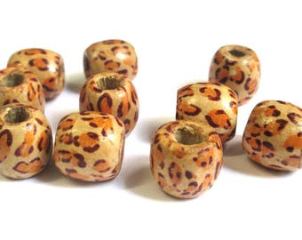 10 wooden beads with Leopard print ethnic 17mm