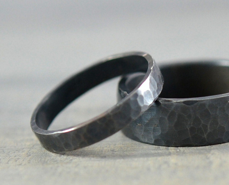 His and Hers Wedding Rings Black Hammered Sterling Silver