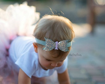 Girls First Birthday Headband - Glitter Fabric Hair Bow - One - First Birthday Bow - Pink And Sliver - Headband - Hair Clip