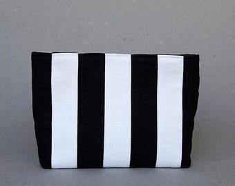 Zebra Clutch in Patchwork Linen