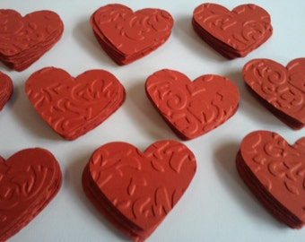 Red hearts, Embossed hearts, Paper hearts, Heart punches, Heart die cuts, Heart confetti, Wedding hearts, Valentine hearts