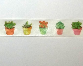 Succulent Plants Washi Tape. Cactus Washi Tape. 1.5cm by 10m. Plant Washi Tape, Planner Tape.