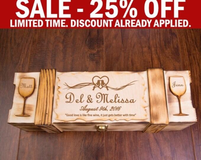 Personalized Wine Box, Wooden Wine Box, Wine Gift Box, Rustic Box, Wine Ceremony Box, Engraved Wine Box, Wine Case, Wine Display