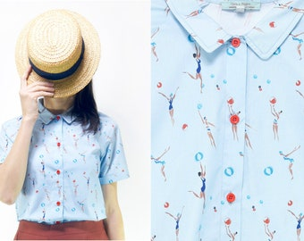 Handmade cotton collared blouse vintage fabric water polo women,Small-Medium-Large [Indian summer blouse /water polo]