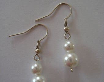 Wedding white glass beads earrings