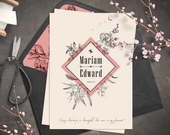 Wedding invitation | Vintage invitation | Botanic and retro look