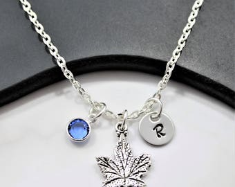 Canadian Maple Leaf Necklace - Maple Leaf Jewelry - Canadian Themed Canada Gifts - Silver Maple Leaf Charm Necklace for Women & Girls