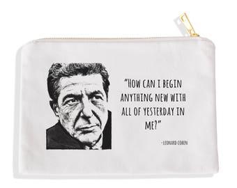 Leonard Cohen // Poetry Gift // Gift for Poet// Makeup Bag// Canvas Bag// Art Bag// Leonard Cohen Art// Pencil Bag  // Cosmetic Bag