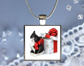 Pendant Necklace Christmas Cat