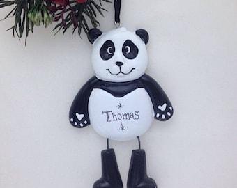 Panda Bear Personalized Christmas Ornament - Zoo Animal Ornament - Hand Personalized Christmas Ornament