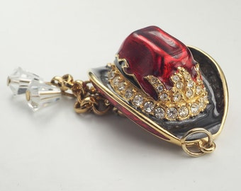 Genuine Swarovski crystals enamel cowboy hat pendant