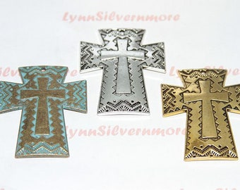 2 pcs  - 50x42 mm Textures print Cross Pendant  Antique Silver  or Gold or Patina Lead Free Pewter