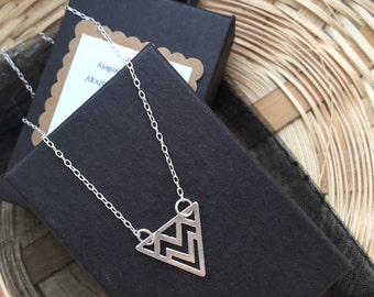 Sterling Silver Triangle Necklace 18""
