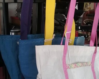Mini recycled sail tote bags