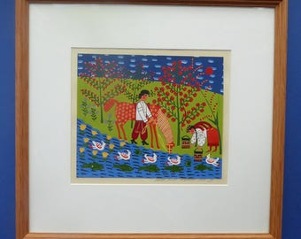 Ukrainian Naïve Folk Art Painting 1990s - Showing a Man and a Woman Watering a Horse Beside a Stream
