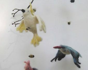 Baby Mobile, Australian birds, Needle felted baby mobile