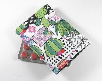 Cactus Birth Control Pill Case, Birth Control Pill Sleeve, Birth Control Pill Holder