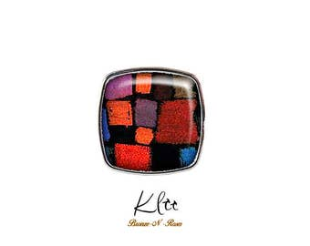Square ring * Coming to bloom * Paul Klee cabochon metal silver glass