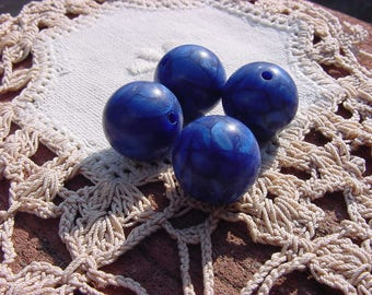 Midnight Blue Marbled Vintage Lucite Beads