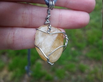 Citrine crystal pendant Citrine necklace wire wrapped citrine mens healing crystal necklace citrine crystal necklace mens stone pendant