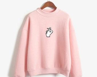 K-pop sweatshirt Fingers sign gesture logo BTS korean High Collar